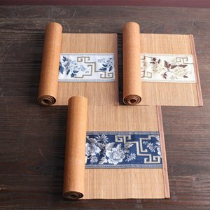 Bamboo Tea Mat Tea Mat Tea Curtain Towel Heat Proof Mat Zen Table Flag Flag Ceremony Accessories Retro Bamboo Curtain