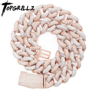TOPGRILLZ 14mm 20mm Newest Box Clasp Micro Pave Iced CZ Cuban Link Necklaces Chains Luxury Bling Jewelry Fashion Hiphop For Men MX200810