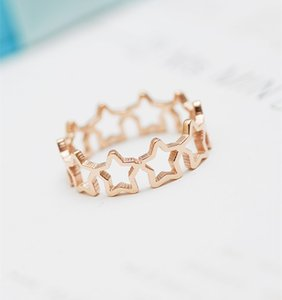 YUN RUO 2020 Rose Gold Color Elegant Stars Ring for Woman Girl Gift 316 L Stainless Steel Jewelry High Polish Prevent Allergy