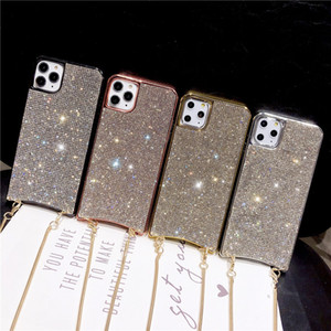 Luxury Bling Rhinestone Plating Phone Case For iphone 11 Pro Max XR X XS Max Soft Back Cover With Chain lanyard For 7 8 plus