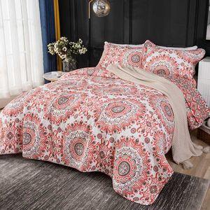 CHAUSUB copriletto per letto Piumone 3PCS Arancione Stampa Cotone Trapunte copriletto federa king Queen Size Coverlet Blanket