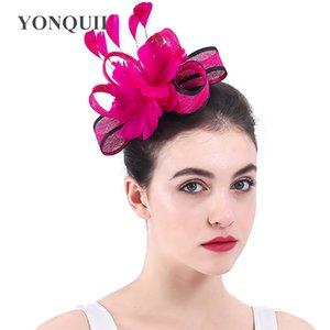 Перо цветок свадьба чай fascinators элегантных женщин Шляпы Chuch аксессуары для волос головной убор с расчески для волос Sinamay фетровая шляпа SYF337