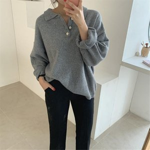 Winter Autumn Brief Loose Casual Elegant Solid Pullovers Girls Office Ladies High Street Wool Knitted Sweater Tops