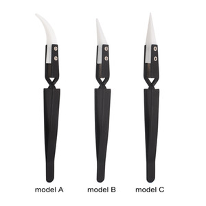 Black Ceramic Tweezers Heat Resistant Cross Lock Reverse Automatic Clamp Nipper Forceps Tweezers For E - Cigarette Heating Coil 300pcs