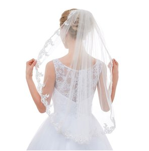white wedding veils ivory tulle bridal veil beaded Comb wedding dress lace veil Single bridal veil for European and American brides