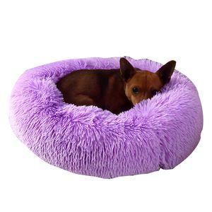 Basket Calming Bed Pet Kennel Cats HouseShag Vegan Fur Donut Cuddler Cat Bed For Small Large Dogs Dounts Dog