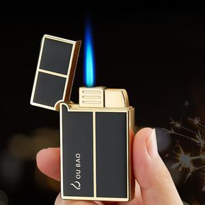 """A prueba de viento encendedor de gas butano Jet """"ding"""" sonido Turbo antorcha encendedor para el cigarro de metal de cigarrillos 1300 C cigarrillo del encendedor de fuego azul Accessor"""