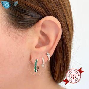 Argent 925 Noir / Vert / Violet / Cristal Blanc Huggies Créoles Boucles d'oreilles pour femmes Charme CZ Boucles d'oreilles Hoops mince Bijoux