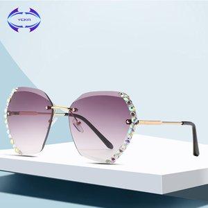 VCKA Vintage çerçevesiz güneş gözlüğü kadın Çok Renkli Elmas tasarımcı gözlük bayanlar Büyük çerçeve Gözlük tonları oculos