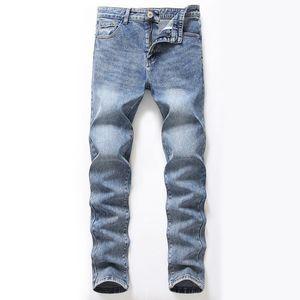 Herren Jeans Retro Vintage blau High Street gefaltetes dünnes Stretch Jeans Lange Denim Hip Hop-Hosen-Bleistift-Hosen für Männer gewaschen