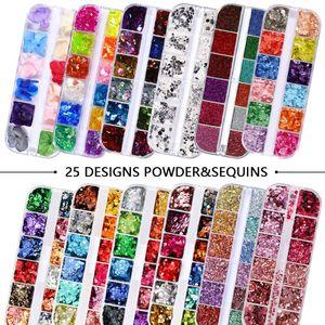 12 Grids Set Mixed size Nail Glitter Flakes 3D Sequins Paillette Powder Charm Nail Art Decoration Manicure tools CT01-20