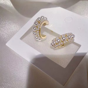 2020 패션 한국어 과장 달콤한 큰 금속 원형 라운드 진주 드롭 귀걸이 여자 파티 세련된 귀 링 쥬얼리