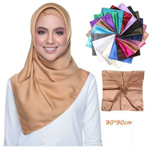 Solid Color Satin Square Scarves Women Muslim Hijab Headscarf Faux Silk Handkerchief foulard femme musulman Headband 90X90CM