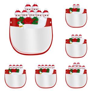 2020 Heißer Verkauf Quarantäne Weihnachten Kinder Gesichtsschirme Maske mit Glas Personalisierte Familie von 4 Ornament Pandemie mit Hand Sanitized FY8037