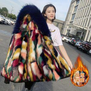 femme court paragraphe manteau de fourrure à capuchon du nouveau fonds de 2020 hivers d'automne est en cuir imitation laine vessie maomao