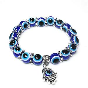 Venda de 8mm Hot 10 mm encantos Acrílico Mal Blue Eye palma pulseira para presente do dia Homens Mulheres Beads Azul Pulseira Olhos Moda jóias dos Namorados