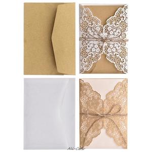 10pcs / set festa do casamento do laço oco convite Cartões Com Kraft Paper Inner Folha Envelopes Rope