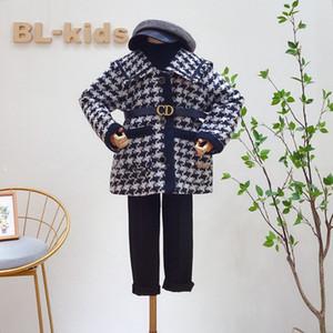 Fashion New Girls Plaid Woolen Coat 2020 Winter Children Plover Case Lapel Long Sleeve Outwear Lady Style Kids Lattice Woolen coat A4277