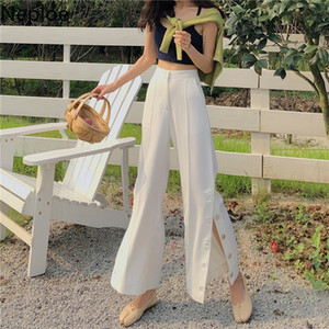 Neploe Spring Summer 2020 New Solid Wild Trouser High Waist Hip Side Cross Design Pantalones Korean Chic Flare Pants 49600