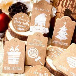 50PCS عيد الميلاد ورق كرافت هدية الكلمات تسمية عيد الميلاد هدية لحزب DIY عيد ميلاد سعيد الأسعار تسمية صندوق معلق علامة الملابس علامة