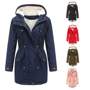Fashionable and casual Autumn winter new cotton-padded jacket women's solid color hooded rope waist thick cotton-padded jacket with velvet