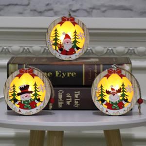 Pentagram en bois Ornement en bois de Noël lumineux Père Noël bonhomme de neige Cerfs Pendant Joyeux Noël Décoration en bois avec la lumière GWF1934