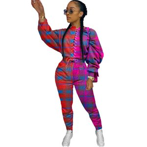 Fashion Womens Contrast Tracksuits Casual Plaid Printed Designer Womens Two Piece Set Bandage Warm Womens Suits
