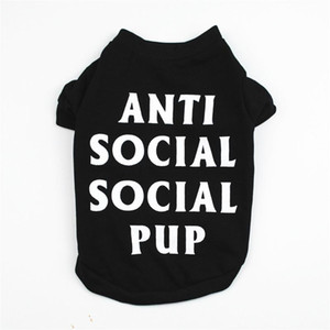 ANTI SOCILA PUP Design Personality Pet Clothes for Dogs Summer Xxxs Funny Dog Clothes for Pugs Teacup Puppy Dog T-shirt