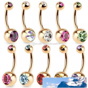 Stainless Steel Gold Crystal Rhinestone Belly Button Ring Navel Bar Body Piercing Jewelry