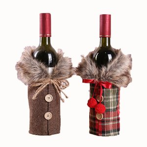 Christmas Wine Bottle Cover Wine Cover With Bow Plaid Bottle Clothes With Fluff Fashion Christmas Decoration Wine Bottle Cover BH4064 TQQ