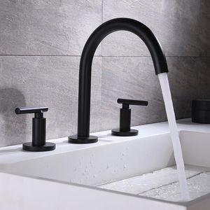Salle de bain bassin robinet pont monté Widespread Porte deux fois trois trous chaud d'eau froide Mixer Noir / Chrome / or rose Tap