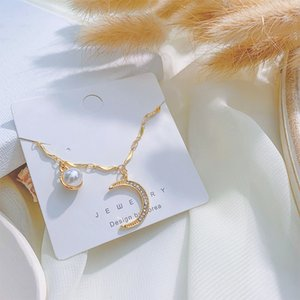 Trendy Female White Pearl Pendant Necklace Classic Gold Color Chain Necklaces For Women Cute Crystal Moon Wedding Necklace