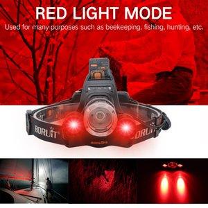 2000LM 3LED Scheinwerfer Red Light Außen Scheinwerfer 3-Modes Wasserdichte USB-Flash-Kopf-Lampen-Fackel-Laterne für die Jagd