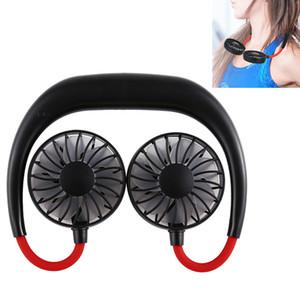 Висячие шеи Вентилятор USB аккумуляторная шейным Ленивый шеи Hands Free Hanging Dual Cooling Fan Mini Sport 360 градусов Вращающиеся