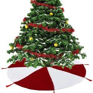 120cm Christmas Tree Skirt Xmas Decoration Home Pad Red White Patchwork Knitting Tassel Christmas Tree Skirts New Year Ornament