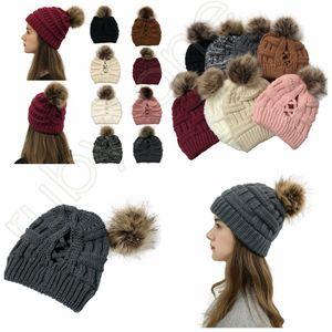 Mujeres Punto de caballo Cápsulas de caballo High Bun Criss Cross Cross Ponytail Beanie Winter Warm Wool Wool Knitting Hat Christmas Party Hats Supplies RRA3623