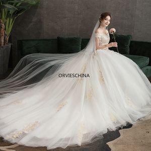 Designer's wedding dress 2020 new one-character wedding dress long bridal gown