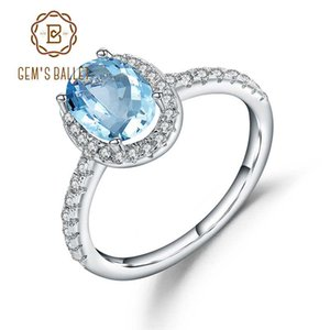 Ballet JOAILLERIE Gem 1.57Ct ovale Ciel bleu naturel Topaz Argent 925 pierres précieuses anneaux de mariage simples pour les femmes