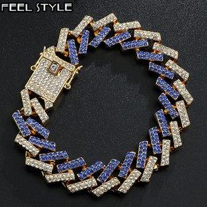 15MM CZ камень кубинской цепи Bling Iced Out Full Rhinestone браслет Геометрические браслеты для мужчин Hip Hop Ювелирные изделия