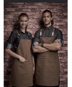 Heavy Duty Waxed Canvas Arbeit Schürze mit Werkzeugtaschen, Grill Coffee Lätzchen Chef-Küchen-Schürze, Kreuz-Back Straps Einstellbare M-L