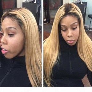 Pre Plucked Ombre Blonde #1B 27 360 Lace Frontal Wig With Baby Hair Bleached Knots Brazilian Hair Honey blonde 360 Frontal wigs