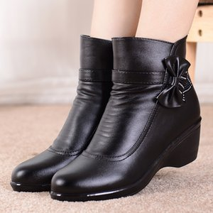 Ladies boots Leather Bow-knot Comfortable Winter boots for women Soft Plush Ankle boots women With Heels Wedge 200916