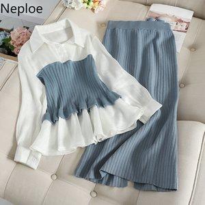 Neploe Autumn Winter Fashion Sets Blouse Patchwork Pullover Knitwear + Split Slim Knit Mid Skirt Women Elegant Suits 200922
