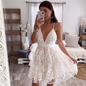 PFFLOOK Summer Lace Embroidery Ruffle Dress Women V Neck Backless Spaghetti Strap Female Dress Party Club White Vestido