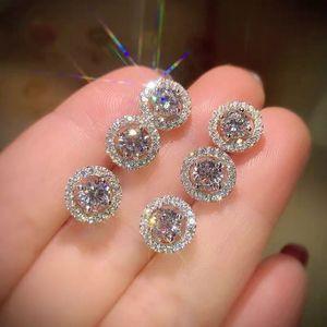 Vecalon Nouvelle arrivée Best Friends plaqué or blanc 18 carats Earings Big Diamond Boucles d'oreilles pour les femmes blanches Zircon Boucles d'oreilles
