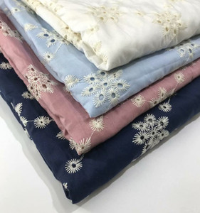 New Coloful Cotton Cloth Embroidered Lace Fabric Width 130cm Handmade DIY Clothes Dress Home Accessories