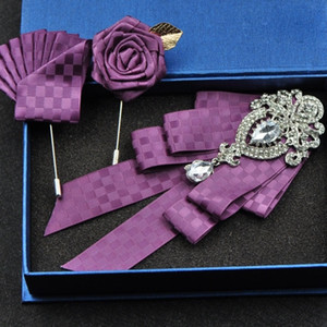 British Fashion Red Rhinestone Bow Tie Wedding Collar Men Accessories Crystal Ties Brooch Pocket Towel Square Set Business Suits