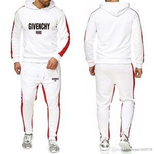 새로운 운동복 남성 신규 브랜드 가을 겨울 후드 운동복 + 졸라 매는 끈 바지 남성 스트라이프 패치 워크 후드 정장-R의 크기 : S-3XL