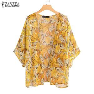 2020 ZANZEA manera de la impresión del kimono del Cabo gasa de las mujeres de la blusa de las rebecas ocasionales de la playa de la manga Blusa más el tamaño cubre hasta Túnica