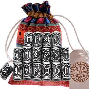 Kolye Kolye Beard veya Saç Vikingler Rune Kitleri Bilezikleri'nin 24pcs Orijinal Viking Runes Charms Boncuk Bulguları